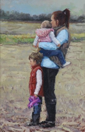 Watching Out For Dad oil on canvas ... 24 X 18 inches
