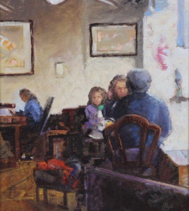 Coffee And A Chat   oil on canvas ... 24 X 22  inches