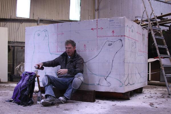 Skerries seals stone sculpture drawing