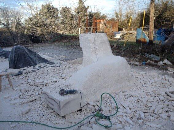 Skerries seals - limestone sculpture in progress  by artist Paul D'Arcy