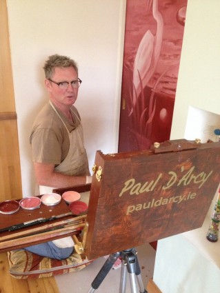 Artist Paul D'Arcy at work