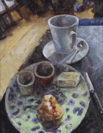 Coffee And A Bun   oil on canvas ... 24 X 20  inches
