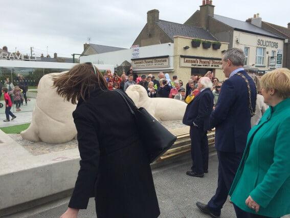 President Michael d. Higgins of Ireland , Skerries, artist paul D'Arcy, Skerries seals