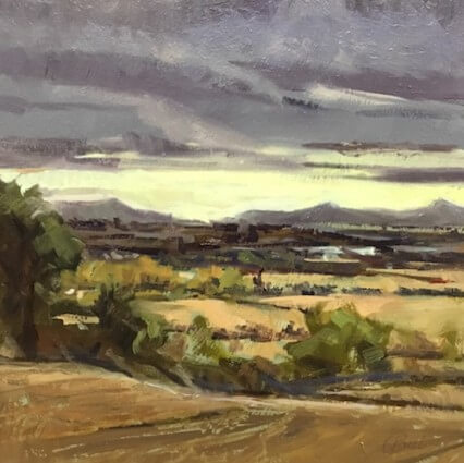Baldungan Castle Skerries, Across To The Sugar Loaf Oil on Board . . . . . 10 X 10 inches