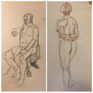 Life drawing by artist Paul D'Arcy